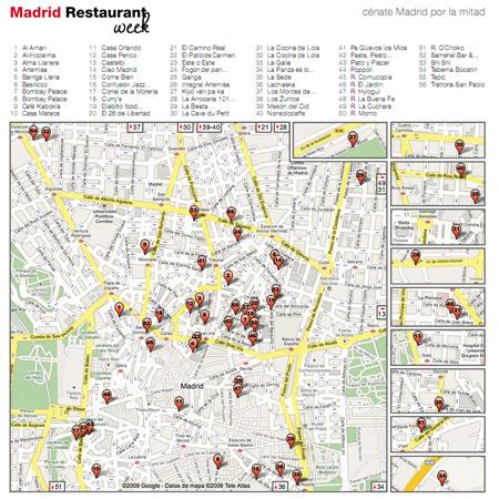 madrid restaurant week 2009 mapa s