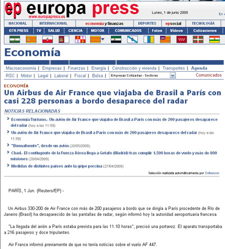 pantallazo air france europaress casi 228 personas s
